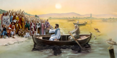 Jesus teaches the crowd on shore from a small boat