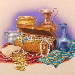An overflowing jewelry box, gold coins, silver and gold pitchers