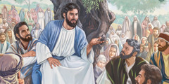 Jesus delivers the Sermon on the Mount to his apostles and disciples
