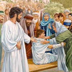 Jesus gives the resurrected young man to his mother; an amazed crowd looks on