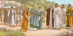Jesus and his apostles encounter a funeral procession for the son of a widow
