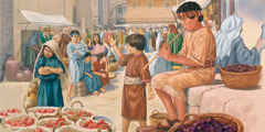 A boy plays the flute in the marketplace, but the other children refuse to dance