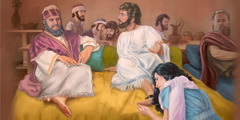 As Jesus reclines with the other guests at the table, a woman kneels at his feet
