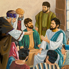 Jesus tries to reason with the scribes and Pharisees; some traveling with him look on