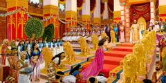 La reina de Seba se acerca al trono del rey Salomón