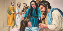 Jesus resurrects Jairus' daughter