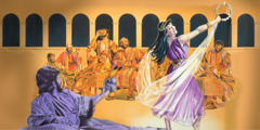 Herod expresses pleasure with Salome's dancing at his birthday party