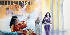 1. Salomé baila en la fiesta de cumpleaños de Herodes; 2. Salomé le lleva a Herodías la cabeza de Juan el Bautista