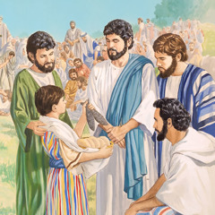 Jesus speaks with the little boy who has the five loaves and two small fish