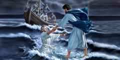 As Peter walks on water, he starts to sink; Jesus stretches out his hand and catches him