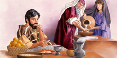 A Pharisee washes his hands up to the elbow and looks critically at a man who has already started eating