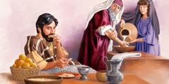 En fariseer vasker hendene opp til albuen og ser med et kritisk blikk på en mann som allerede har begynt å spise