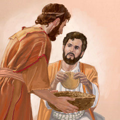 A man holds a basket as Jesus breaks the loaves