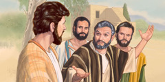 Peter replies to Jesus as other apostles look on