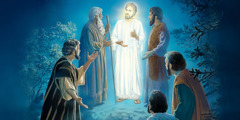 Jesus is transfigured before Peter, James, and John; the figures of Moses and Elijah appear