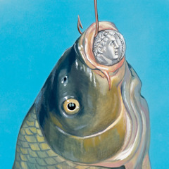 A fish on a hook with a coin in its mouth