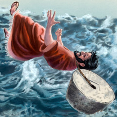 A man with a millstone around his neck being pitched into the sea