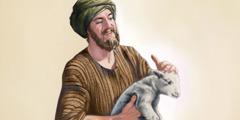 მწყემსი შეხარის ცხვარს, რომელიც დაკარგული იყო და იპოვა