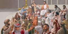 Jesus teaching at the temple in Jerusalem