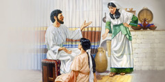 Mary sits at Jesus' feet as he counsels Martha