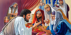 Jesus condemns the Pharisees for their religious traditions and hypocrisy