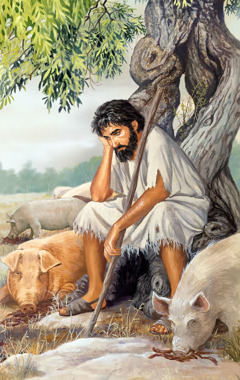 The prodigal son seated under a tree watching swine eat carob pods