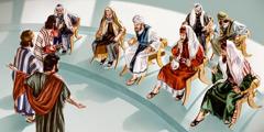 Юдеї розповідають фарисеям про воскресіння Лазаря