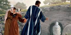 Nakatingin sina Marta at Maria nang buhayin ni Jesus ang kapatid nilang si Lazaro