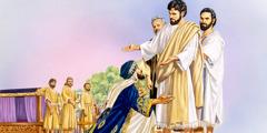 En rik ung styresman går ner på knä framför Jesus