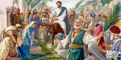 Människor hyllar Jesus som kung när han rider in i Jerusalem på en åsna