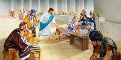 Jesus overturns the table of a money changer