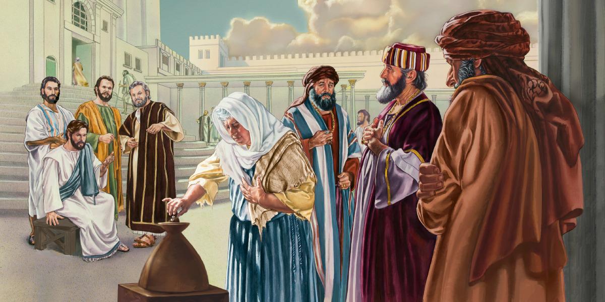 Jesús observa a una viuda pobre echar dos moneditas en una de las arcas del tesoro del templo