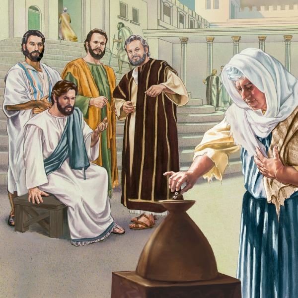 Image result for Jesus watching the old lady two mites
