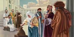 Հիսուսը նայում է, թե ինչպես է աղքատ այրին երկու փոքր մետաղադրամ գցում գանձանակի մեջ