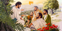 Jesus answers questions from four of his apostles