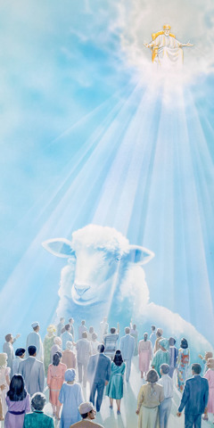 Jesus sits on his glorious throne and judges faithful people as sheep