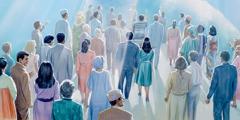 Mindenféle nemzetiségű ember az égre tekint, amint Jézus ítéletét várják
