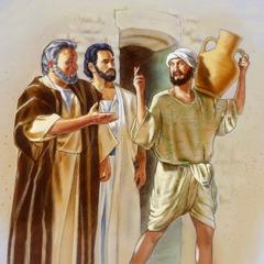 Peter and John followim man wea karem wata long wanfala botol wea olketa wakem long clay