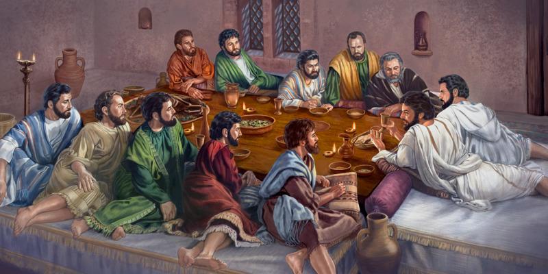 Jesús instituye la Cena del Señor con sus once apóstoles fieles