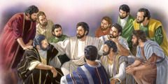Jesus in the upper room with his 11 faithful apostles
