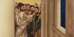 Jesus talks with his apostles as they leave the upper room