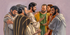 The apostles appear troubled as Jesus gives them a warning