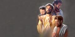 ישוע נושא עיניו מעלה לשמיים ומתפלל לפני שליחיו