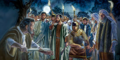 Jesus rebukes Peter for using a sword to cut off Malchus' ear; the soldiers stand ready to arrest Jesus