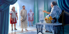 Jesus står framfor Pontius Pilatus