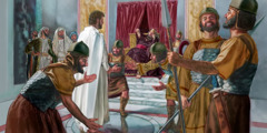 Herod and his soldiers mock Jesus
