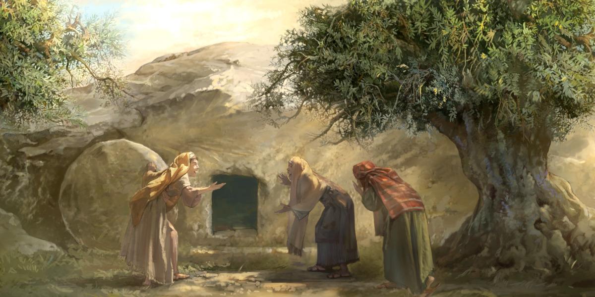 As mulheres ficam muito surpresas ao encontrar o túmulo de Jesus vazio