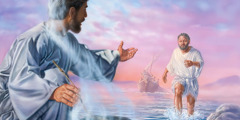 Peter meets Jesus on the shore, while the other apostles follow in a boat