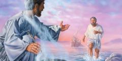 Peter møder Jesus ved bredden mens de andre apostle følger efter i en båd