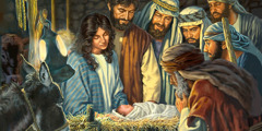 Mary, Joseph, and shepherds dey look Jesus